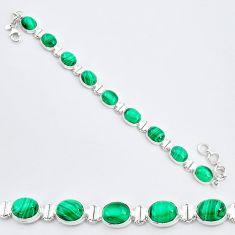 36.05cts natural malachite (pilot's stone) 925 silver tennis bracelet r96631