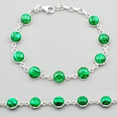 25.65cts natural malachite (pilot's stone) 925 silver tennis bracelet t26427