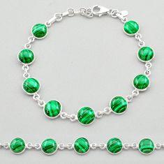 24.73cts natural malachite (pilot's stone) 925 silver tennis bracelet t26430