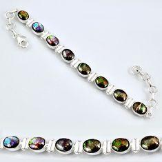 25.58cts natural multi color ammolite (canadian) silver tennis bracelet r60921