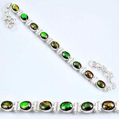 20.84cts natural multi color ammolite (canadian) silver tennis bracelet r60923