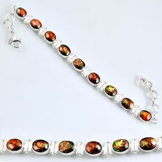 13.92cts natural multi color ammolite (canadian) silver tennis bracelet r60926