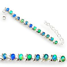 20.84cts natural multi color ethiopian opal 925 silver tennis bracelet r27524