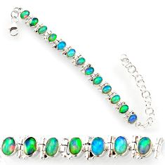 21.04cts natural multi color ethiopian opal 925 silver tennis bracelet r27526