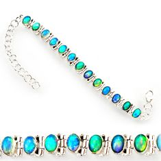21.03cts natural multi color ethiopian opal 925 silver tennis bracelet r27527