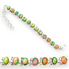 21.04cts natural multi color ethiopian opal 925 silver tennis bracelet r27528