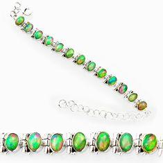 20.54cts natural multi color ethiopian opal 925 silver tennis bracelet r27531