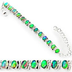 21.04cts natural multi color ethiopian opal 925 silver tennis bracelet r27532