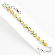 18.87cts natural multi color ethiopian opal 925 silver tennis bracelet r75261