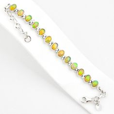 18.00cts natural multi color ethiopian opal 925 silver tennis bracelet r75263
