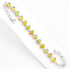 18.23cts natural multi color ethiopian opal 925 silver tennis bracelet r75266