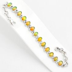 18.95cts natural multi color ethiopian opal 925 silver tennis bracelet r75275