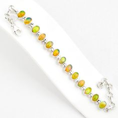 19.86cts natural multi color ethiopian opal 925 silver tennis bracelet r75277