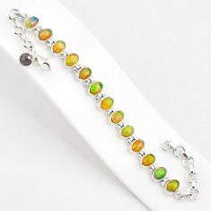 19.89cts natural multi color ethiopian opal 925 silver tennis bracelet r75278