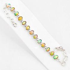 21.39cts natural multi color ethiopian opal 925 silver tennis bracelet r76221