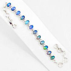 19.89cts natural multi color ethiopian opal 925 silver tennis bracelet r76222