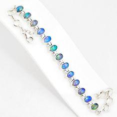 21.04cts natural multi color ethiopian opal 925 silver tennis bracelet r76223
