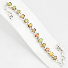20.84cts natural multi color ethiopian opal 925 silver tennis bracelet r76225