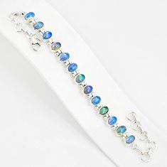 21.36cts natural multi color ethiopian opal 925 silver tennis bracelet r76226