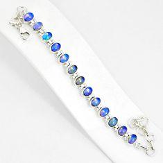 21.71cts natural multi color ethiopian opal 925 silver tennis bracelet r76230