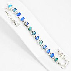 19.89cts natural multi color ethiopian opal 925 silver tennis bracelet r76231