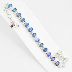 21.04cts natural multi color ethiopian opal 925 silver tennis bracelet r76232