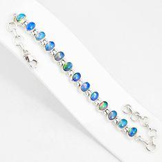 21.04cts natural multi color ethiopian opal 925 silver tennis bracelet r76237