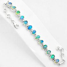 18.39cts natural multi color ethiopian opal 925 silver tennis bracelet t5881