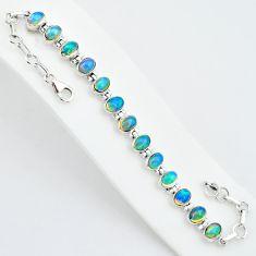 19.54cts natural multi color ethiopian opal 925 silver tennis bracelet t5886