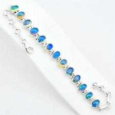 18.95cts natural multi color ethiopian opal 925 silver tennis bracelet t5894