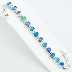 17.52cts natural multi color ethiopian opal 925 silver tennis bracelet t5899