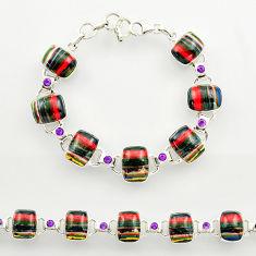 39.67cts natural multi color rainbow calsilica 925 silver tennis bracelet r27463