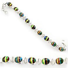 33.99cts natural multi color rainbow calsilica 925 silver tennis bracelet r27571