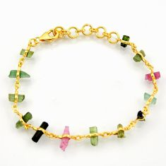 14.14cts natural multi color tourmaline 925 silver 14k gold bracelet r38768