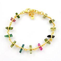 13.87cts natural multi color tourmaline 925 silver 14k gold bracelet r38769