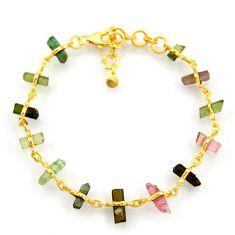 14.90cts natural multi color tourmaline 925 silver 14k gold bracelet r38770