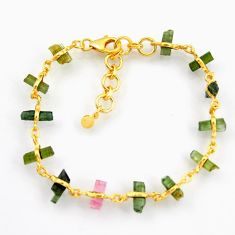 13.87cts natural multi color tourmaline 925 silver 14k gold bracelet r38772