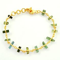 13.09cts natural multi color tourmaline 925 silver 14k gold bracelet r38773