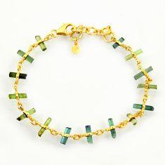 11.57cts natural multi color tourmaline 925 silver 14k gold bracelet r38775