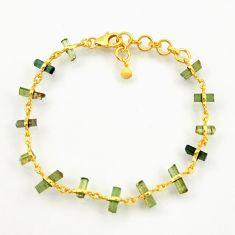 12.96cts natural multi color tourmaline 925 silver 14k gold bracelet r38776