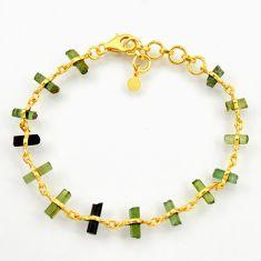 11.95cts natural multi color tourmaline 925 silver 14k gold bracelet r38777