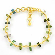 11.82cts natural multi color tourmaline 925 silver 14k gold bracelet r38778