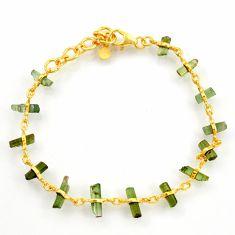 12.39cts natural multi color tourmaline 925 silver 14k gold bracelet r38780