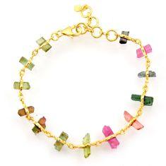 13.87cts natural multi color tourmaline 925 silver gold tennis bracelet r33246