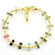 13.09cts natural multi color tourmaline 925 silver gold tennis bracelet r33248