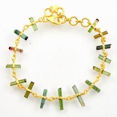 13.09cts natural multi color tourmaline 925 silver gold tennis bracelet r33251