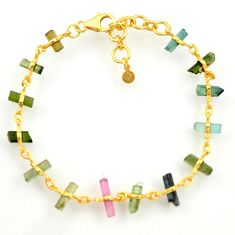13.09cts natural multi color tourmaline 925 silver gold tennis bracelet r33253