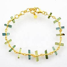 13.09cts natural multi color tourmaline 925 silver gold tennis bracelet r33260