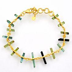 13.66cts natural multi color tourmaline 925 silver tennis bracelet r33265