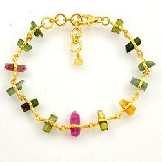 16.06cts natural multi color tourmaline 925 silver tennis bracelet r33267